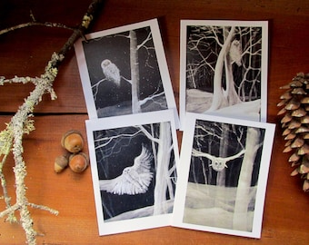 Set of 4 Owl Greeting Cards