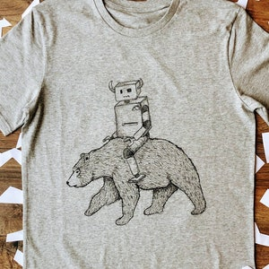 Robot and bear women/'s T-shirt Graphic ethical clothing gift for her