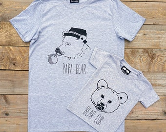 3acebdd55 Papa Bear family and baby bear T-Shirt Set - Father's day Gift for dads Bear  T-Shirt - daddy bear - bear cub baby bear gift for Dads