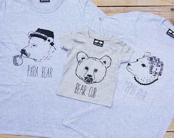 cafcc15a2 Bear family T-shirt set, Father's Day Gift - Papa Bear, Mama Bear & Bear Cub  baby bear T-shirts mummy, daddy and baby t-shirts family set