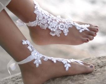 Beach Wedding Barefoot Sandals- Bridal Foot Jewelry- Lace Barefoot Sandals- Barefoot Wedding Shoes- Footless Sandals- Boho Wedding Shoes