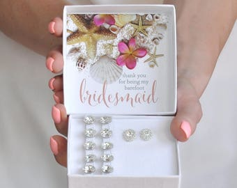 Beach Wedding Bridesmaid Gift Box- Bridesmaid Thank You Gift- Barefoot Sandals- Thank you for being my Barefoot Bridesmaid- Wedding Favor