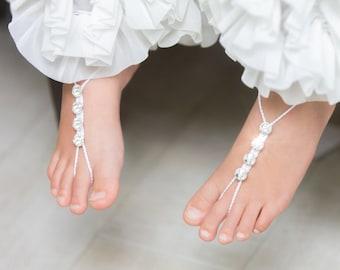 Girls Barefoot Sandals- Foot Jewelry- Beach Wedding- Footless Sandals- Barefoot Wedding Sandals- Flower Girl Gift- Baby barefoot Sandle- MCC