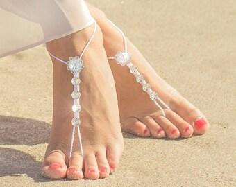 Bidal Barefoot Sandals- Bridal Foot Jewelry- Beach Wedding Barefoot Sandals- Barefoot Wedding Sandal- Bridesmaid Gift- Boho Wedding Shoes