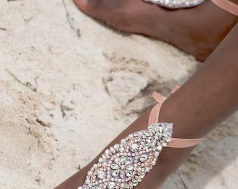 Bridal Barefoot Sandals- Rhinestone Crystal Foot Jewelry- Beach Wedding Barefoot Sandals- Crystal Anklet- Wedding Sandal- Boho Glam Wedding