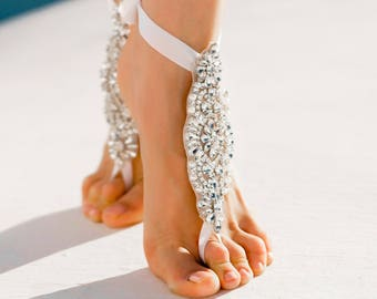Beach Wedding Barefoot Sandals- Bridal Barefoot Sandals- Crystal Foot Jewelry- Anklet- Slave Bracelet- Wedding Sandals- Indian Jewelry