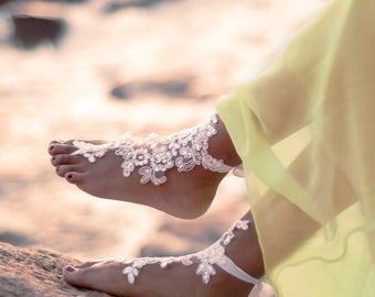 Bridal Barefoot Sandals, Beach Wedding Foot Jewelry, Boho Wedding Shoes