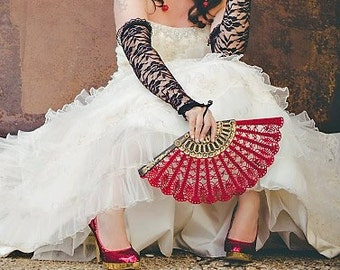 Wine Red Lace Fan- Hand Held Fan- Gift for Her- Gift under 50- Handmade Lace Hand Fan- Folding Hand Fan- Spanish Wedding Fan- Bridal Fan MCC