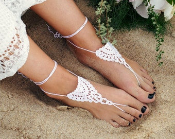 Bridal Barefoot Sandals- Lace Bridal Jewelry- Boho Sandals- Footless Sandals- Beach Wedding Sandals- Foot Jewelry- Sandles- Barefoot Wedding