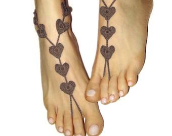 Beach wedding barefoot sandals, heart shape foot jewelry for island honeymoon