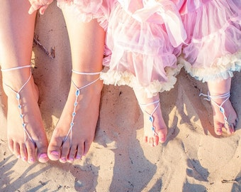 Mommy and Me outfits- Barefoot Sandals- Mother Daughter Foot Jewelry- Flower Girl- Beach Wedding- Footless Sandals- Barefoot Wedding Sandles
