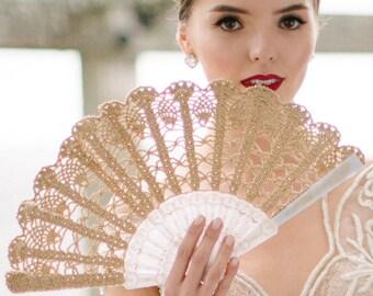 Lace Hand Fan- Gold Hand Held Fan- Bouquet Alternative- Spanish Wedding Fan-Spain- Gift for Her- Gift under 50- Lace Fan- Folding Hand Fan