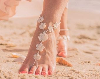 Foot Jewelry- Beach Wedding Barefoot Sandals- Bridesmaids Gift- Gift under 20- Barefoot Wedding Sandals- Footless Sandals- Boho Wedding Shoe