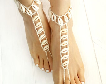 Seashell Jewelry- Beach Wedding Barefoot Sandals- Boho Barefoot Sandals- Bridesmaid Gift- Seashell Foot Jewelry- Bridesmaid Jewelry- Anklet