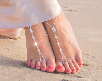 Beach Wedding Barefoot Sandals- Foot Jewelry- Footless Sandals- Wedding Shoes- Wedding Sandas- Bridesmaid Gift- Swarovski Crystals- MCC