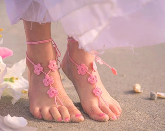 Flower Girl Barefoot Sandals- Toddler Foot Jewelry- Flower Girl Shoes- Beach Wedding- Sandles- Barefoot Wedding Sandals- Flower Girl Gift