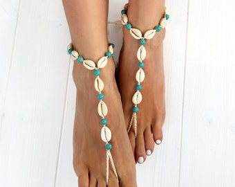 Seashell Jewelry- Body Jewelry- Foot Jewelry- Seashell Anklet- Turquoise and Seashells Barefoot Sandals- Boho Jewelry- Beach Wedding Sandals