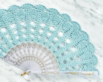 Aqua Blue Lace Hand Fan- Hand Held Fan- Lace Fan- Folding Hand Fan- Spanish Wedding Fan- Bridal Fan- Wedding Prop- Mother Of The Bride