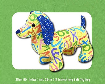 Digger & Dixie Dachshund Dog Stuffed Toy PATTERN, Not a PDF, by Funky Friends Factory