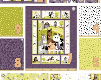 Barnyard Buddies Panel Fabric and Coordinating Prints by Susybee, 100% Cotton, Pick and Choose your Cut!  Great for Baby!