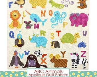 ABC Animals Applique Quilt PATTERN, learn your ABC's from this Quilt!  Great to make for kids and grandkids!