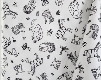 Safari central-jungle animaux noir blanc gris 100/% Coton Patchwork Tissu
