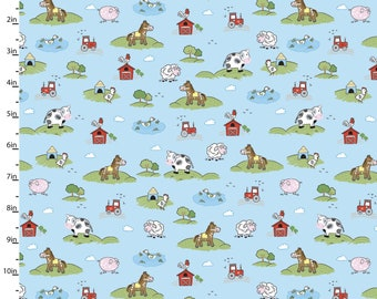 On the Farm Blue Flannel Fabric, 100% Cotton Flannel Sold By The Yard, Great for Baby, Softies, Quilting, Crafting