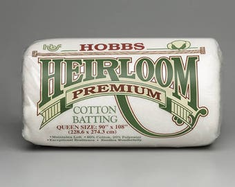 Hobbs Heirloom Premium Cotton Batting, 80/20 Cotton Poly Blend perfect for hand or machine quilting, choose your size!