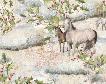 Christmas Horses Fabric by Springs Creative, 100% Cotton, Sold By The  Yard, Coordinates with Christmas Horse Panel