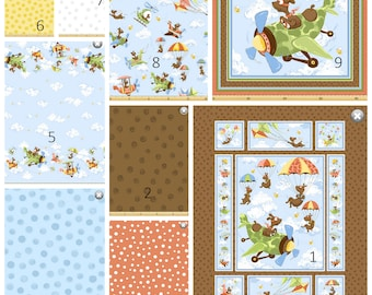 Zig the Flying Ace Dog Panel and Coordinating Prints 100% Cotton Fabric by Susybee, Pick and Choose your Cut!  Baby, Toddler. Boys!