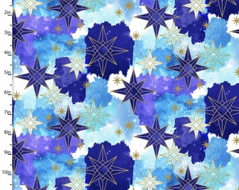 Gold Metallic Stars on Blue Fabric from Magical Galaxy Collection by 3 Wishes, 100% Cotton, Use for Sewing, Quilting etc