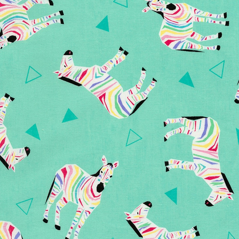 6dab89720e119 Rainbow Zebras Fabric on Seafoam Green by Timeless Treasures
