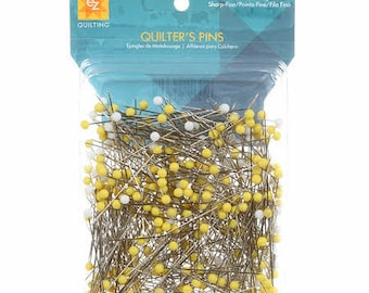 "Quilter's Pins by EZ! 500 pieces, each 1-3/4"" long, in yellow and white, sharp fine point!"