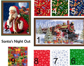 Santa's Night Out Panels and Coordinating Cotton Prints...Who doesn't love Santa? Christmas Quilting Cotton