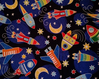 Space Rocket Ships, Dark Navy Blue, Glow in the Dark Fabric, All Systems Glow, Spacy Voyage, by Kanvas 100% Cotton, Quilting, Sewing, Kids