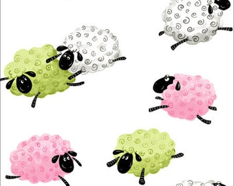 """Leaping Sheep in Pink and Green and White, """" Lewe Leaping Sheep"""" from Susybee! 100% Cotton Children's Fabric, Great for Quilting, Sewing!"""