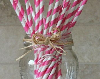 25 Bubble Gum Pink and White Stripe Paper Party Straws