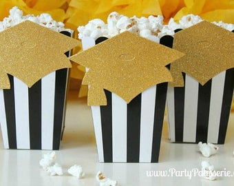 Graduation party Popcorn boxes Sets of 10  Letter dish, Balloons Graduation Popcorn Boxes, Black & White Stripe, Ships 2-4 business days
