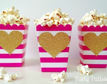 Popcorn Boxes Pink and White stripe, treat boxes treat container, Valentine's day, Galentine, bacholette, wedding, shower, birthday pary