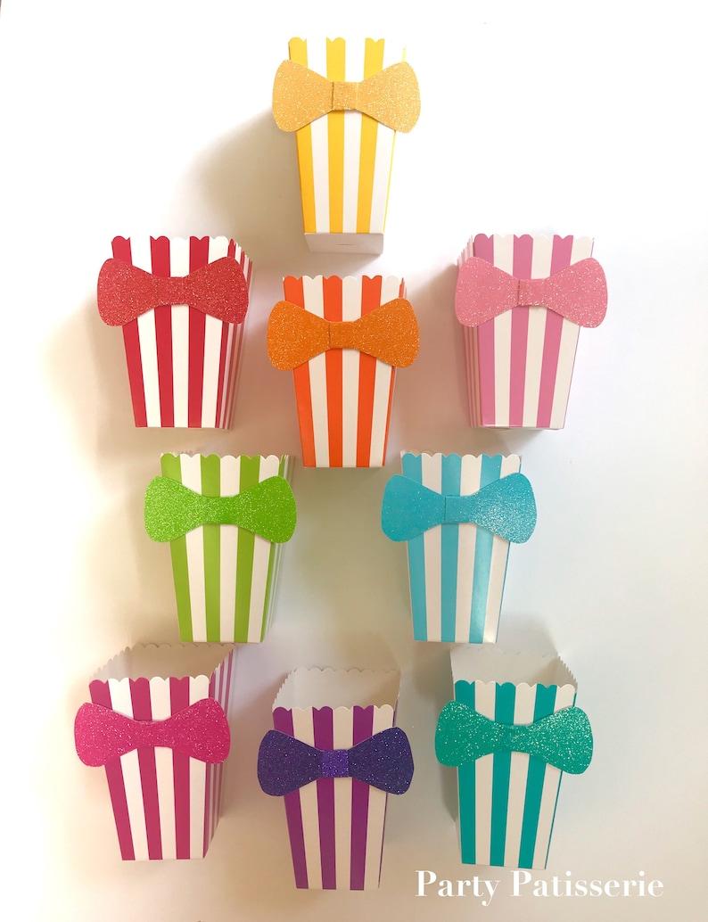 Bowtie Striped Popcorn Boxes Wedding Birthday Little Man image 0