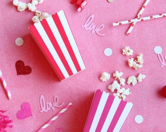Popcorn boxes Valentine, Birthday,Shower party striped Set of 10