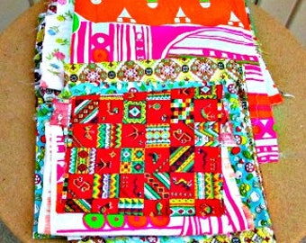 vintage 40s 50s 60s 70s colorful fabric remnants quilter crafter must have 15 piece lot