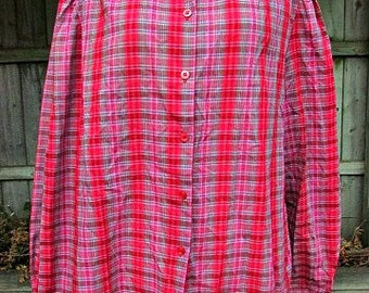 vintage 70s plaid blouse lace peter pan collar b48 miss fashionality  nos nwt secretary scooter girl made in usa