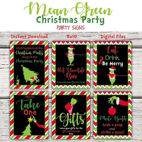 Mean Green Christmas Monster Party Signs  Birthday Party  Christmas Grouch   Table Signs  Christmas Party Signs  Holiday Party Signs  Naughty