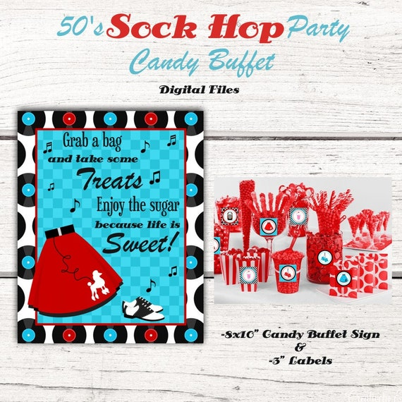 1950 S Birthday Party Candy Buffet Sign Candy Jar Labels 50 S Sock Hop Red Turquoise Fifties 50 S Party Decorations