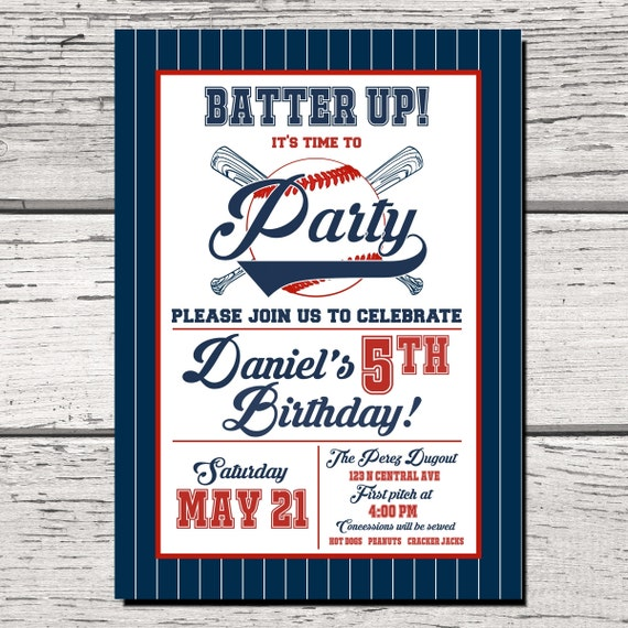 Baseball Birthday Party Invitation Invite Baby Shower Bat Custom PRINTABLE