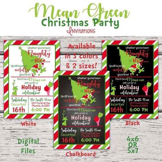 Mean Green Christmas Monster Invitation Christmas Party Invitation