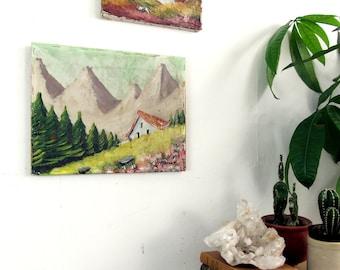 antique oil on canvas,oil painting,landscape painting,vintage painting,cabin,mountains,French Farmhouse,farmhouse antiques,cottage decor