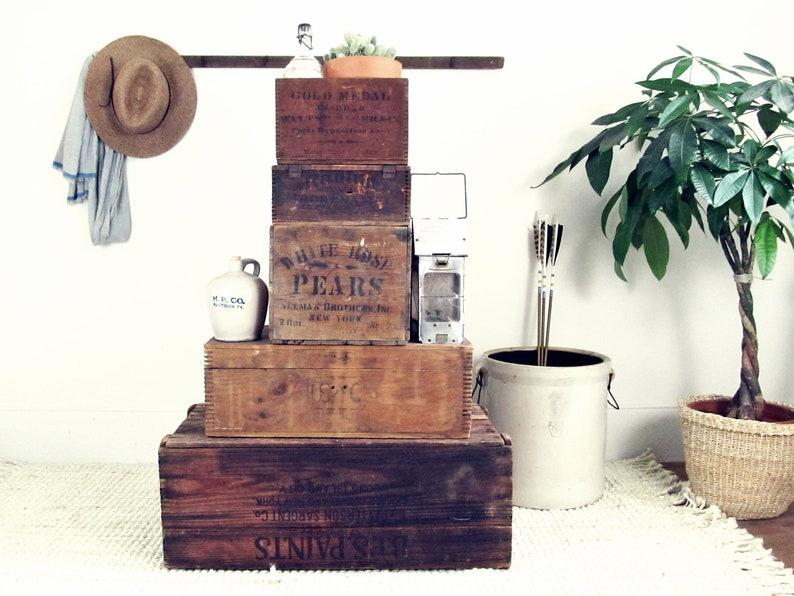 Caisse en bois vintage caisse caisse industrielle boîte de etsy