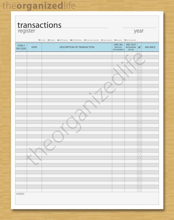 transactions register bill tracker pdf etsy